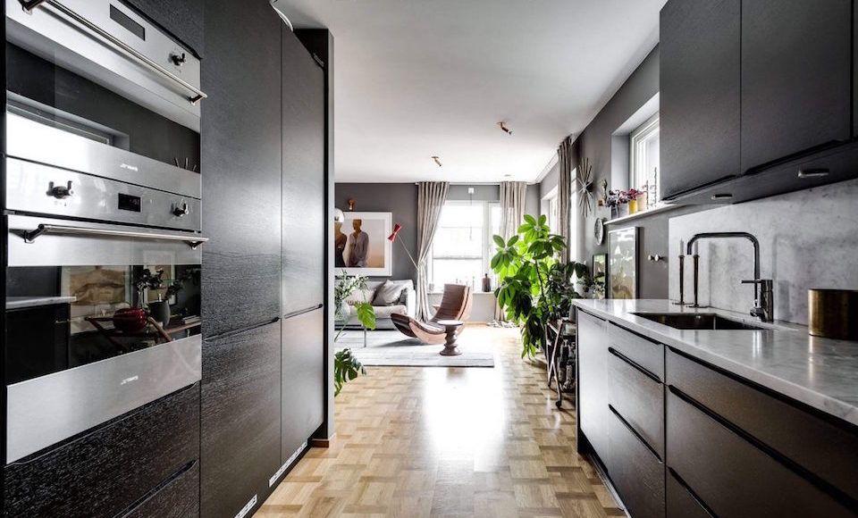 A Stylish Swedish Apartment In Sleek Shades Of Grey
