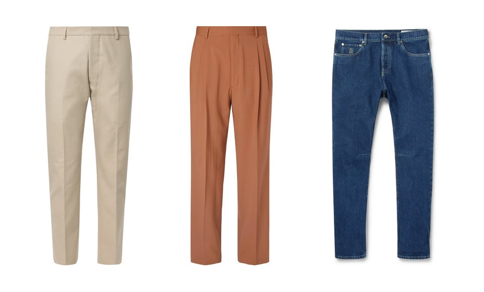 Trousers or denim is okay... even wide-legged is cool
