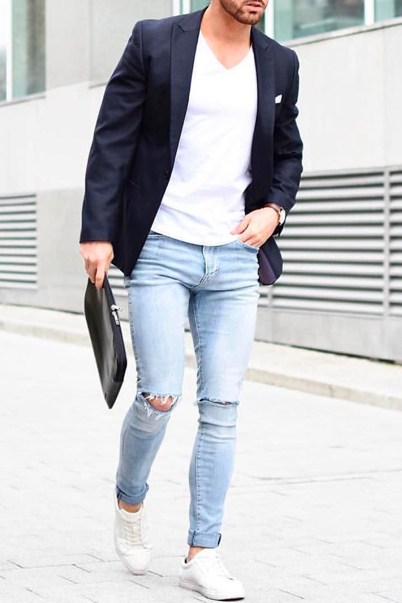 distressed jeans blazer