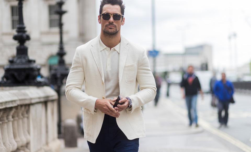 Men's Summer Look: White + Light Blue + Accessories | MEN'S