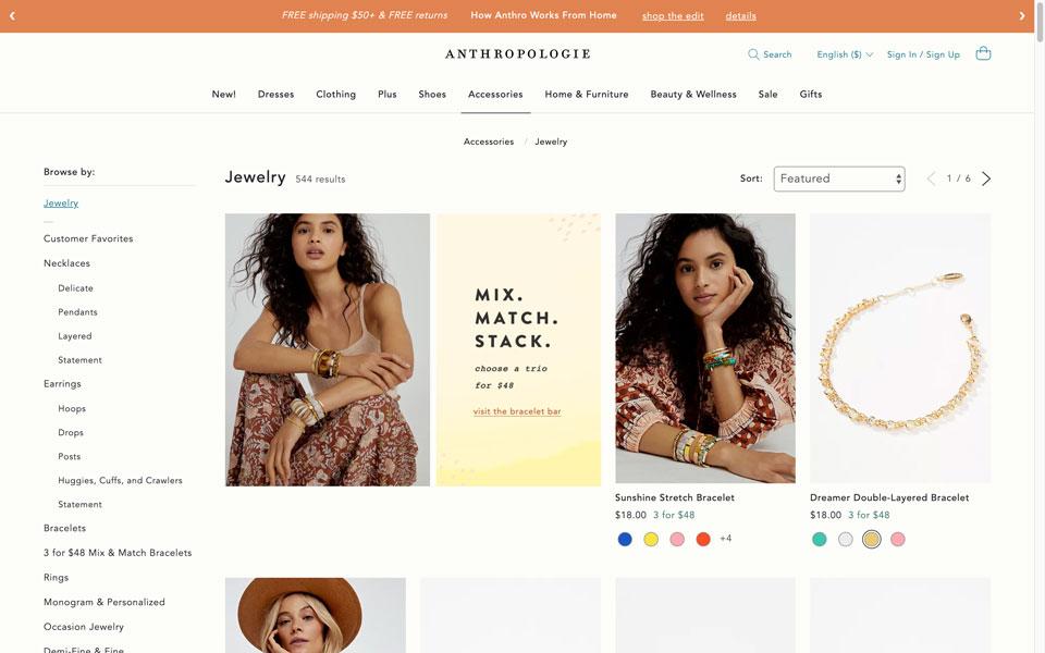 anthropologie online jewellery store