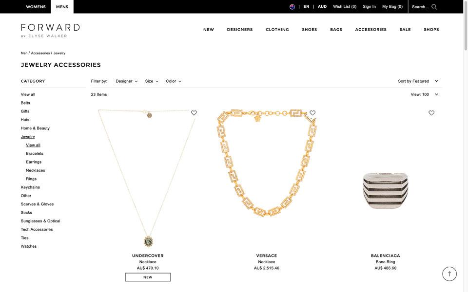 Forward online jewellery store