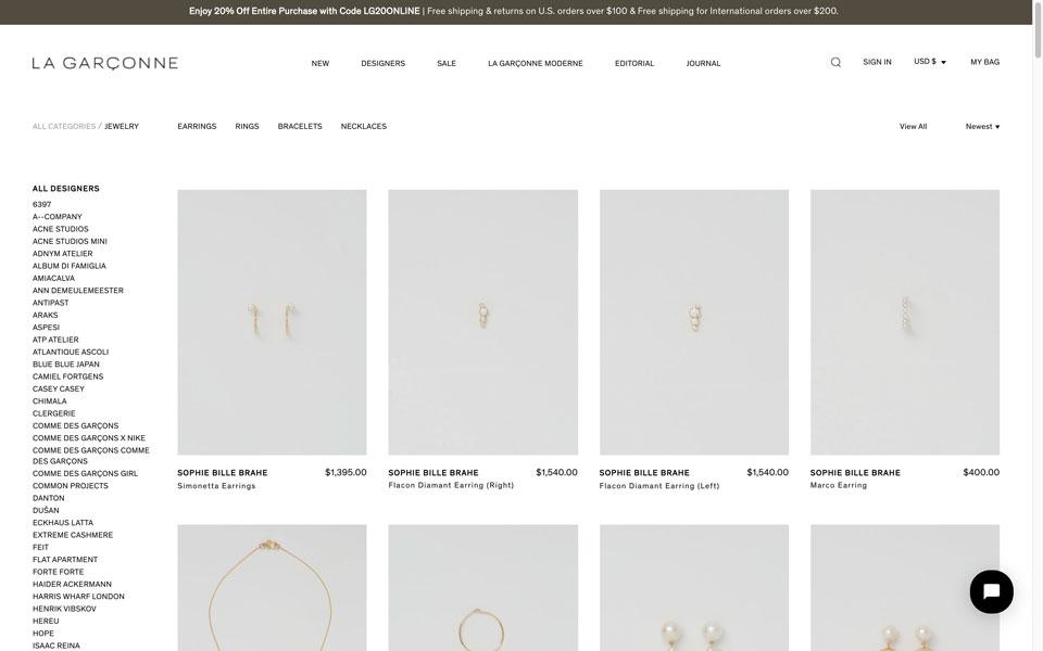 La Garçonne online jewellery store