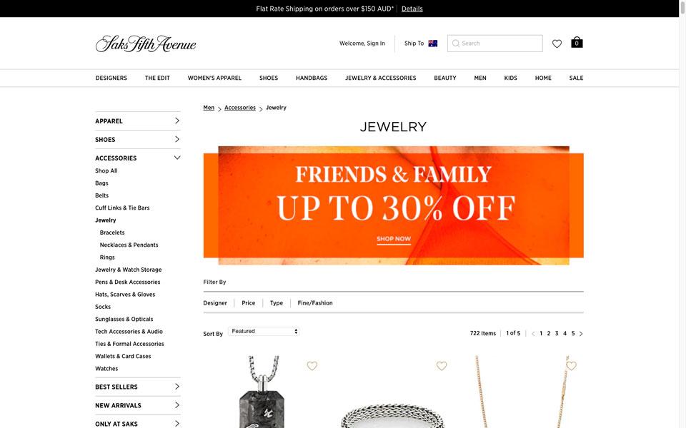 Sak's Fifth Avenue online jewellery store