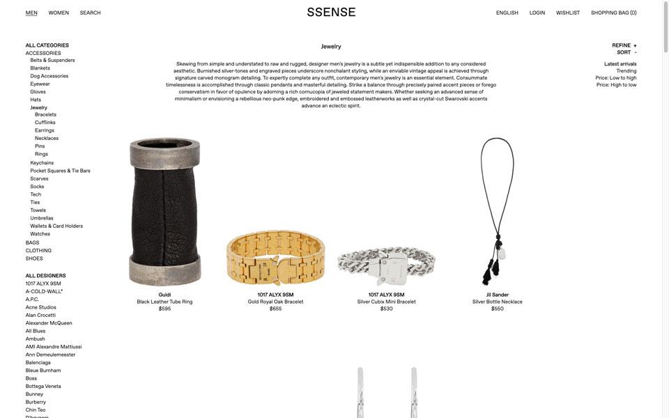 ssense online jewellery store