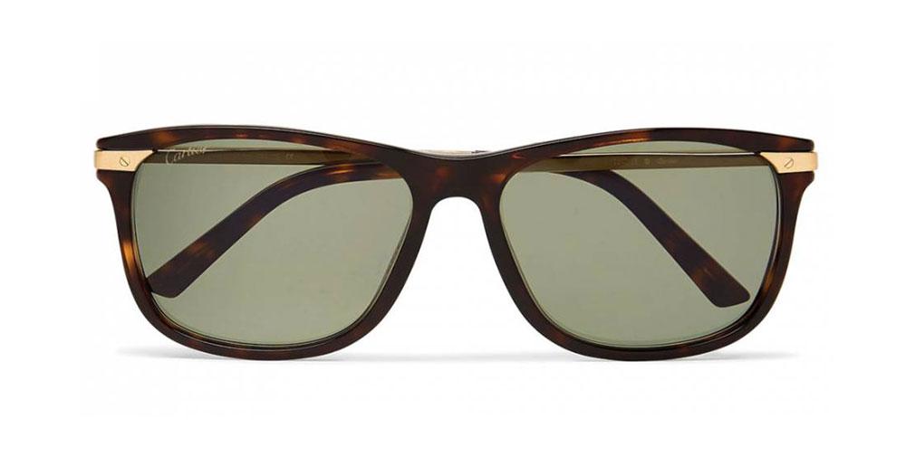 Cartier Eyewear Santos De Cartier Square Frame Tortoiseshell Acetate And Gold Tone Sunglasses