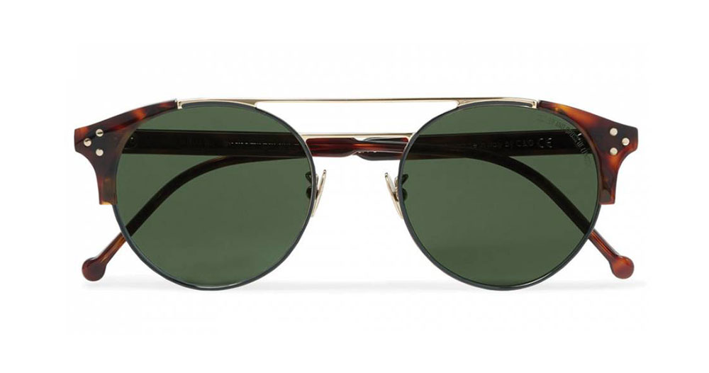 Cutler and Gross Round Frame Tortoiseshell Acetate And Gold Tone Sunglasses