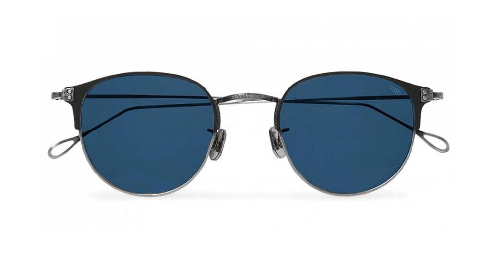 Eyevan 7285 Round Frame Acetate And Titanium Sunglasses