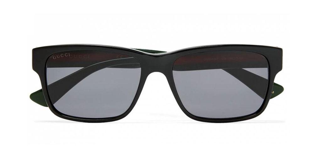 Gucci Square Frame Striped Acetate Sunglasses