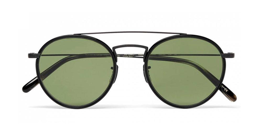 Oliver Peoples Ellice Round Frame Metal Sunglasses