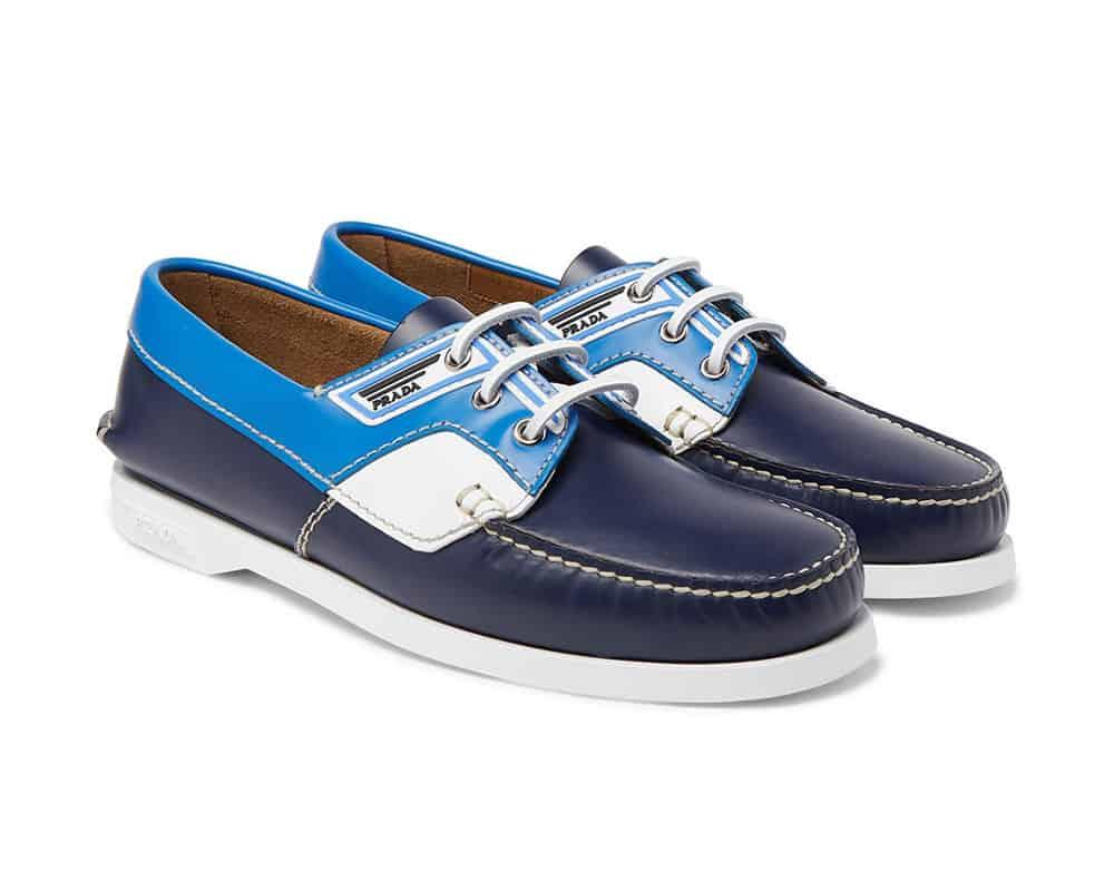 Prada Colour Block Leather Boat Shoes