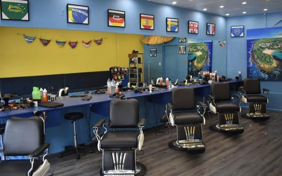 M. Barber Manly barber shop interior.