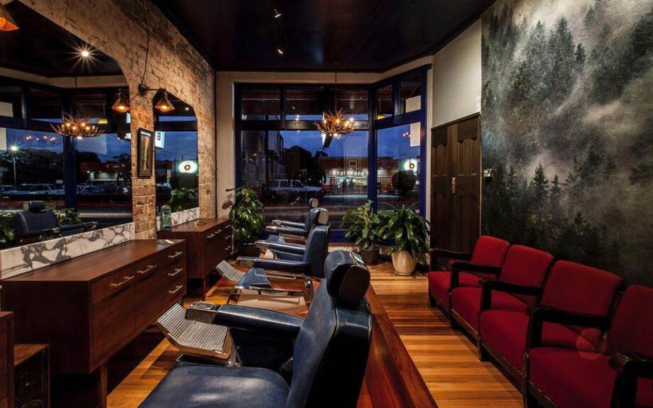 Mr Wolf barber shop, Sydney, interior