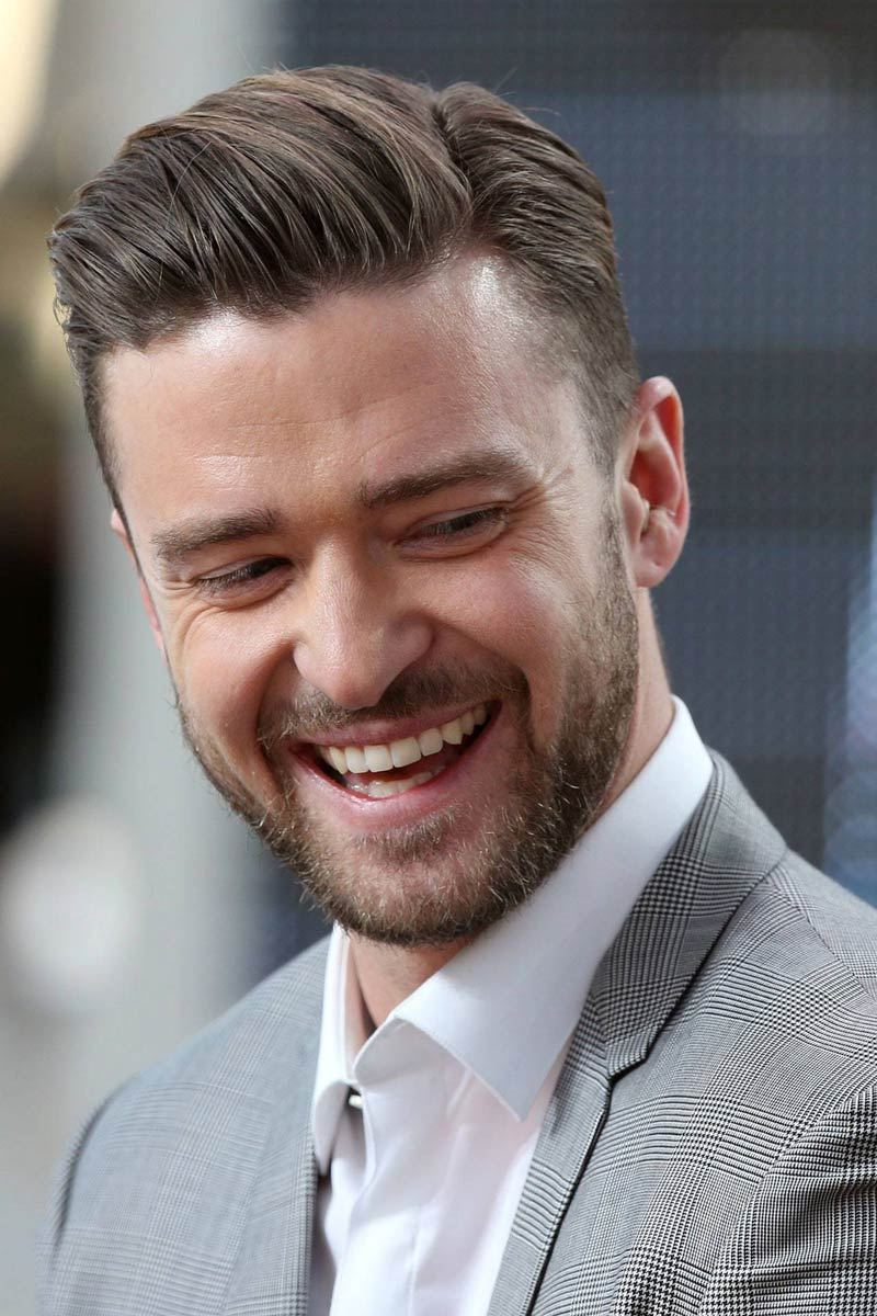 Justin Timberlake with comb over haircut.