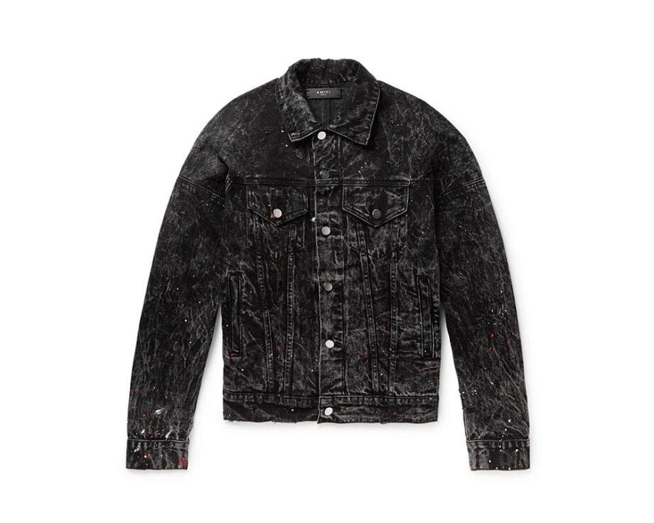 AMIRI Oversized Striped Paint Splattered Denim Jacket